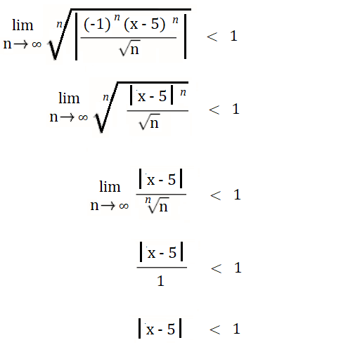 setting up interval of covergence formula